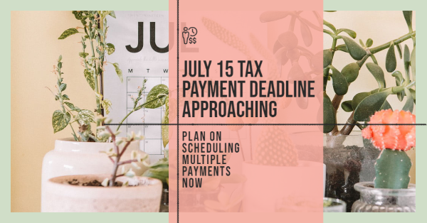 July 15 Tax Payment Deadline Approaching; Plan on Scheduling Multiple Payments Now