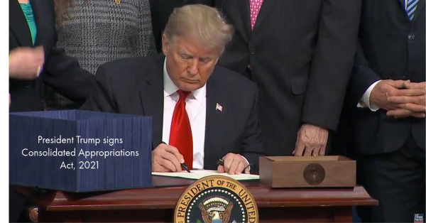 President Trump signs Consolidated Appropriations Act, 2021
